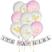 ベビーシャワーパーティーdecorations- Its A Girlピンクとゴールドベビーシャワーバナーとballoons-パーティーsupplies- Baby Girlシャワー
