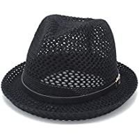Fashionable Hat, Women Men Sun Hat for Letters Boater Fedora Hats Daddy Mesh Flat Homburg Beach Hat Panama Cap (Color : Black, Size : 56-58CM)