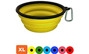 Zenify Dog Bowl - Extra Large 1000ml Collapsible Foldable Food and Water Feeder Dish - Portable Travel Leash Lead Slim Accessories for Training Pets Puppy Dogs (7 inches / 17.8 cm) (Yellow XL)