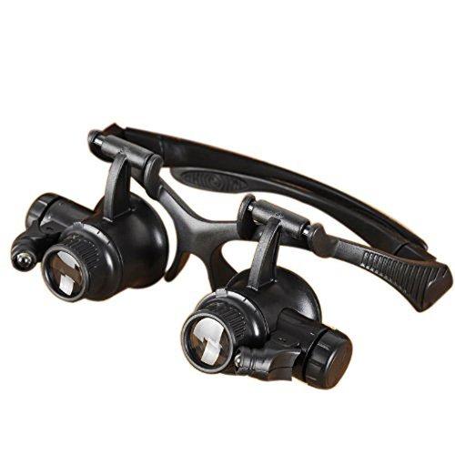 eHarbour LED 付ヘッドルーペ 眼鏡式 拡大鏡 10倍 15倍 20倍 25倍