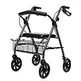 座席および車輪が付いている標準的な歩行フレーム折る歩行者、高齢者およびハンディキャップのための軽量の輸送の転がり移動性の援助、黒