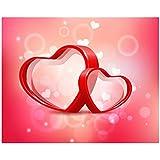 BannerBuzz バレンタインデー 3D ハート 写真 背景幕 バナー 10フィート x 8フィート 調節可能なスタンド付き 伸縮ポール付き ステップとリピートフレームスタンド&写真ブース用