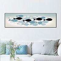 ETH 魚 - 北欧の創造的な装飾的な絵画のキャンバスの絵(フレーム除く)コア抽象手の絵画の40センチメートル*の160センチメートル ハロウィンカーニバル