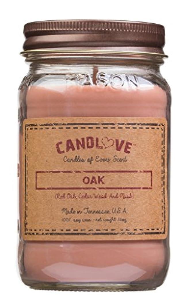 ピケ例示するトロリーCandlove「オーク」香りつき16oz Mason Jar Candle 100 %大豆Made in the USA