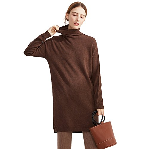 Jocolate(ジョコレート) レディース トップス 長袖 ハイネック 無地 洗える セーター 暖かい あったか 秋冬 ヒートフル タートルネック ニットウェア (コーヒー)