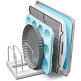 "YouCopia StoreMore Adjustable Bakeware Rack Pan Organizer Bakeware Rack 11.5""D x 7.3""W x 6.4""H White, Metal"