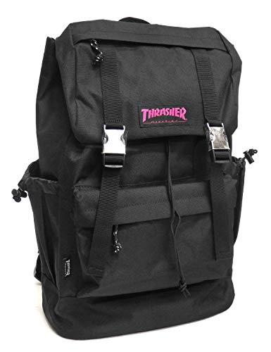 e6dc1ef35ffe THRASHER リュック スラッシャー バックパック カブセ フラップデイパック THRRM501 (ブラック×ピンク, フリーサイズ(