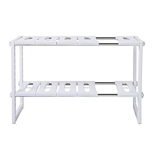 押入れフリーラック 伸縮タイプ シンク下伸縮棚 フリーラック 組立式 キッチン収納 (ホワイト)