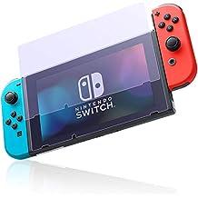 Nintendo Switch 保護フィルム  Punming ニンテンドースイッチ ガラスフィルム 任天堂Switch専用 【2枚セット】ブルーライトカット 9H硬度 ガラス飛散防止 指紋防止 気泡ゼロ 高透過率 全画面保護 極薄