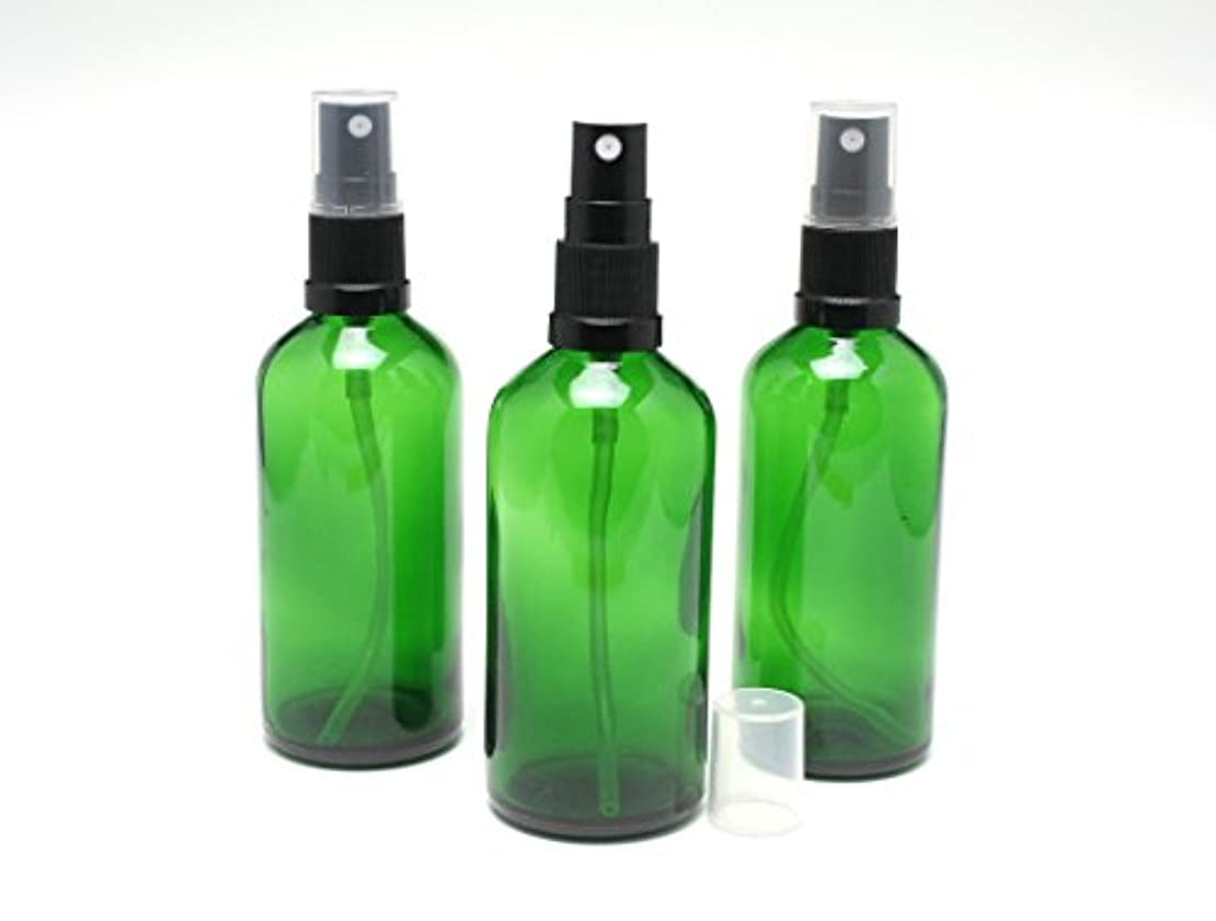 修正形マサッチョ遮光瓶 スプレーボトル (グラス/アトマイザー) 100ml / グリーン/ブラックヘッド 3本セット 【新品アウトレット商品 】