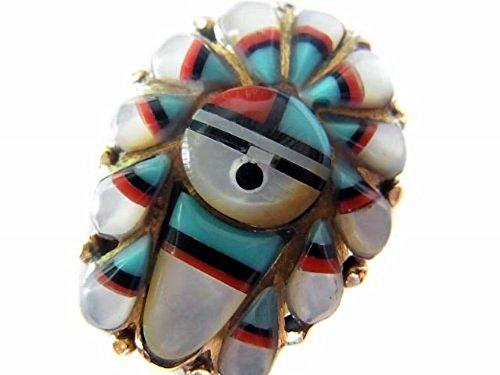 サンフェイス ネイティブインディアン ストーンインレイ コンチョCONCHO ブラス真鍮製 Aタイプ