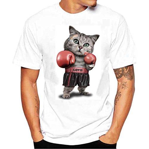 Hanaturu  tシャツ メンズ おしゃれ おもしろ 白 可愛いネコ柄 人気 ボクシング猫 メンズプリントtシャツ 着心地いい 夏最適 ファション ホワイト 友達彼氏 プレゼント S-4L 大きいサイズ