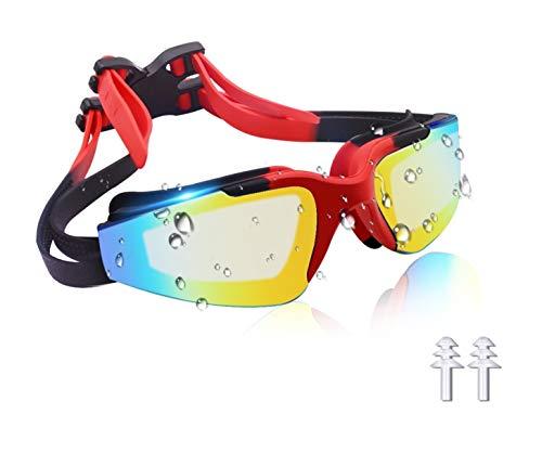 スイミングゴーグル ZealBea Focus スイムゴーグル ミラーゴーグル くもり止め 柔らかいシリコーンクッション付き 紫外線カット ベルト調節可 ゴーグルケース付き 耳栓付き 男女兼用 フリーサイズ