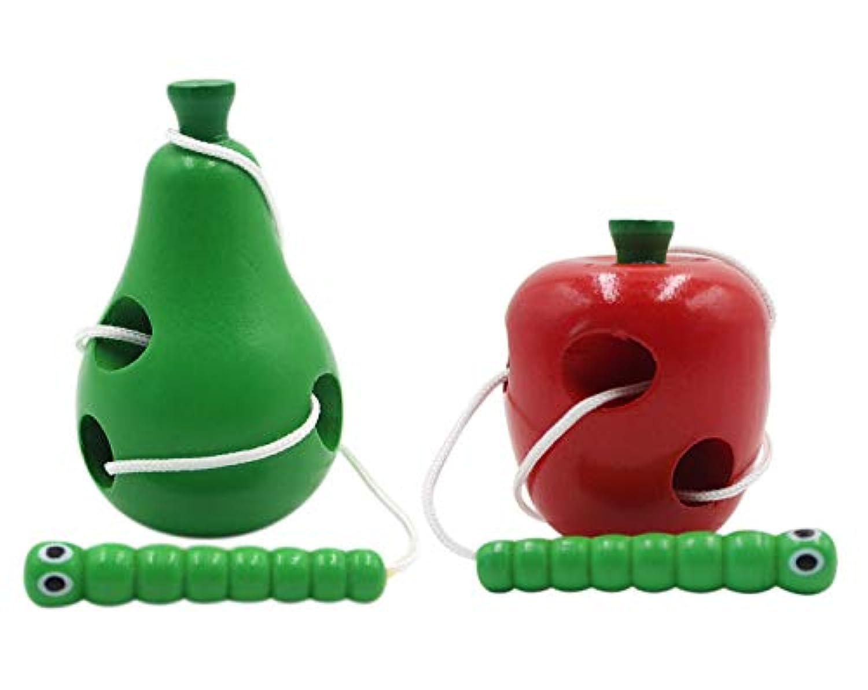 2のセット木製シートンToys Caterpillars Eat Fruitsゲーム教育玩具赤ちゃんover 1 years old