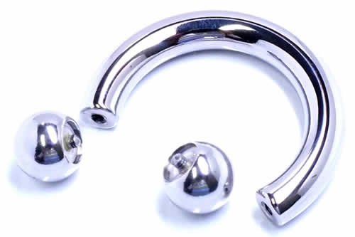 サーキュラー バーベル ボディピアス ボディーピアス ネジ式 アーチ型 蹄鉄 ステンレス スチール インターナル 片耳 4g (内径xボールサイズ)25x10mm バラ売り プレゼント パーティー