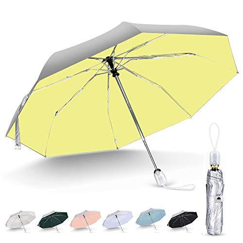 シルバーコーティング ひんやり傘 日傘 uvカット 100 遮光 折りたたみ ワンタッチ 自動開閉 8本骨 軽量 晴雨兼用 遮熱 耐風撥水 軽量 紫外線遮断 レディース 折りたたみ傘 折り畳み傘 おすすめ日傘 (シルバー/ピンク)
