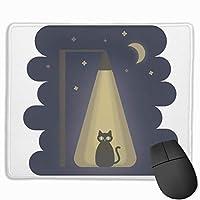 マウスパッド 夜 猫 光 月 グレー ゲーミング オフィス最適 おしゃれ 疲労低減 滑り止めゴム底 耐久性が良い 防水 かわいい PC MacBook Pro/DELL/HP/SAMSUNGなどに 光学式対応 高級感プレゼント VAMIX