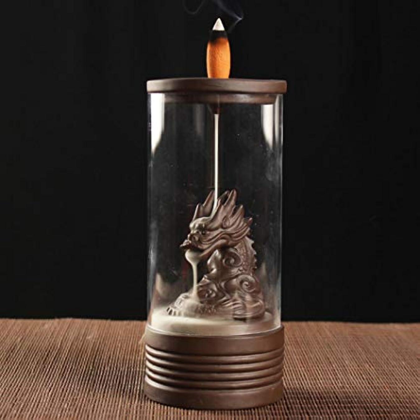 機構手術プラスチックAlenx ドラゴン 逆流香立て 家庭用香炉 逆流香10個付き 陶器香炉 香炉 ブラウン USZVTBO644722