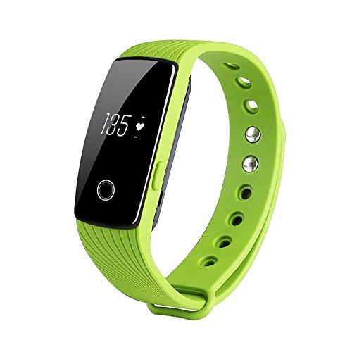 TINCINT スマートブレスレット 心拍計 活動量計 消費カロリー 歩数 走行距離 睡眠検測 遠隔カメラ 着信通知 携帯紛失防止 生活防水 スポーツ 健康管理 Bluetooth 4.0 スマートウォッチ Android4.4/Iphone、iOS7.1以上のスマホ端末に  (緑)