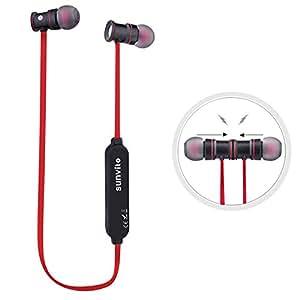 Sunvito Bluetooth 4.1 ISSCチップ イヤホン ワイヤレス バイノーラル イヤホン 防汗 高音質 軽量 イヤホン ハンズフリー通話 (レード)
