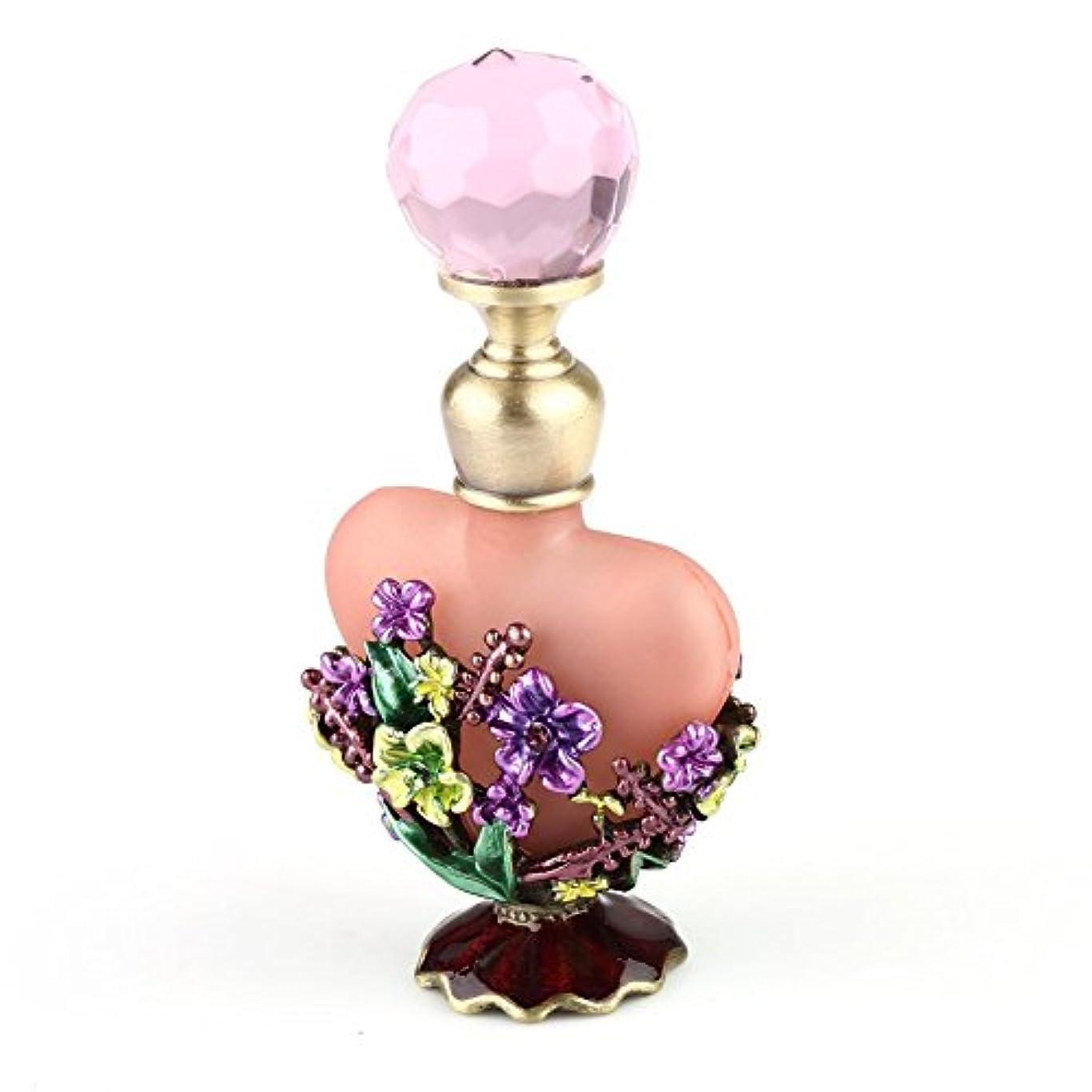 火縫う組VERY100 高品質 美しい香水瓶/アロマボトル 5ML ピンク アロマオイル用瓶 綺麗アンティーク調フラワーデザイン プレゼント 結婚式 飾り