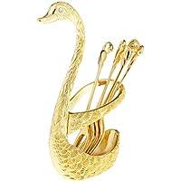 FLAMEER 白鳥の形 6本フォーク 食器 2色選ぶ ステンレス製 台所 おしゃれ 食器セット カトラリースタンド - ゴールド