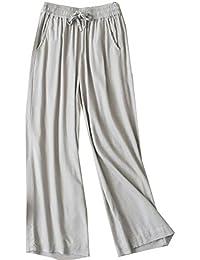 (ニカ) レディース ワイドパンツ 春 夏 無地 シンプル ウエスト 9分丈 パンツ ゆったり 薄手 軽量 綿 麻 パンツ ワイドパンツ