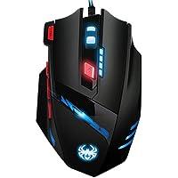 ORIA ゲーミングマウス 有線 光学式 ロジクール 重さ調節可能 6色LEDライト 高精度ターゲティング MMORPG FPS PUBGに最適