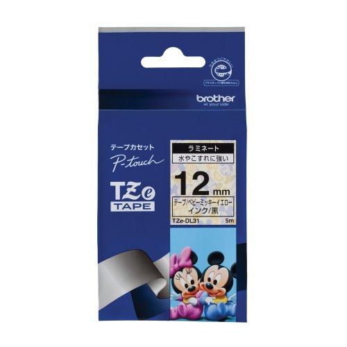 ピータッチ ディズニーキャラクターテープ ベビーミッキー イエローラベル TZe-DL31 [黒文字 12mm×5m]