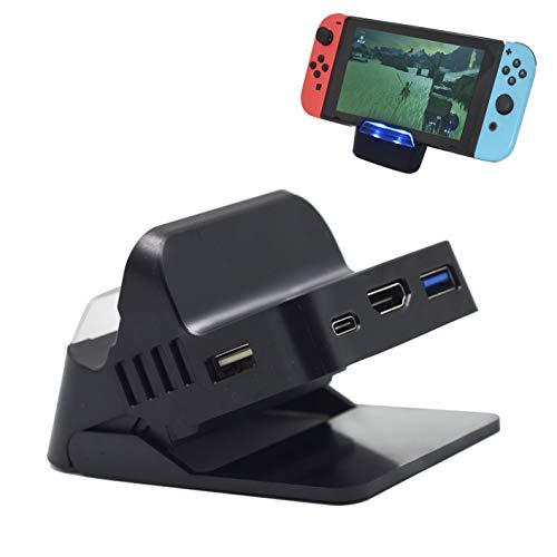 【Switch 対応】 BRHE スイッチ ミニドック テーブルモード/テレビモード対応 切り替え 4K TV出力 角度調整可能 熱対策 小型 アダプター ドック替換「基盤内蔵」