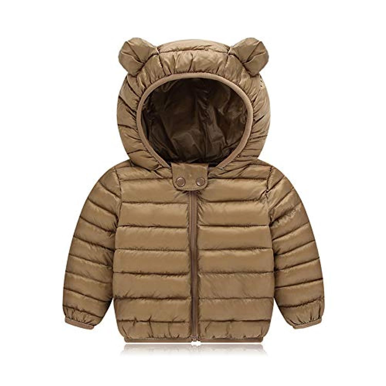 AIKSSOO 新生児 ダウンジャケット 女の子 男の子 軽量 ベビー服 コート 冬用 フード付き 防寒 カラメル 100