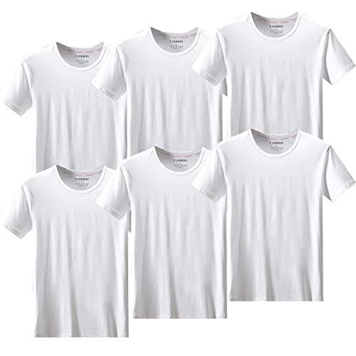 Tシャツ インナーシャツ メンズ 6枚組 100%綿 カットソー バレーボールシャツ 無地 シンプル ホワイト shirt6 白 L