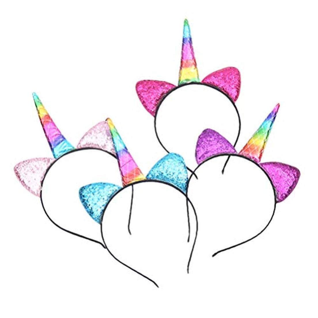 カップ最終的に障害NUOBESTY 女の子女性子供パフォーマンスのコスプレ衣装パーティーのために4本のハロウィンユニコーンヘッドバンド輝くスパンコールホーンヘアフープヘッドピース愛らしい頭飾り