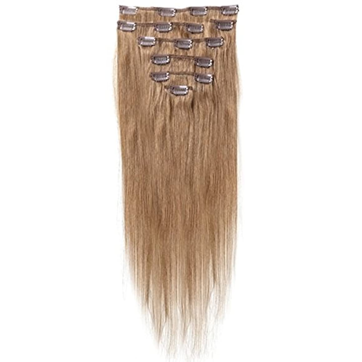 パネルわずかに会員SODIAL 女性の人間の髪 クリップインヘアエクステンション 7件 70g 20インチ キャメルブラウン