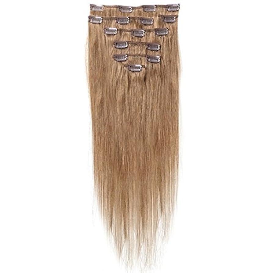 海岸チラチラする遠いSODIAL 女性の人間の髪 クリップインヘアエクステンション 7件 70g 20インチ キャメルブラウン