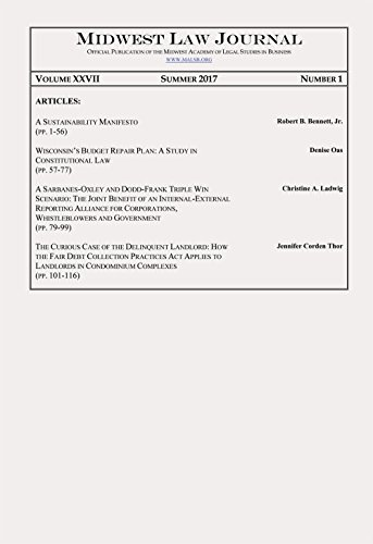Midwest Law Journal: Volume XXVII, Number 1, Summer 2017 (English Edition)