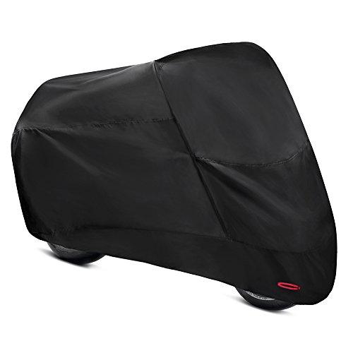 バイクカバー 中型 2本線で縫製 バイクシート 防水・撥水性に優れた オックス210D 厚手 耐久 防塵 盗難防止 風飛び防止 傷防止 立体裁断でバイクに装着しやすい ブラック Convida (XL:245*105*125)