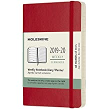 Moleskine 2019-20 Weekly Planner, 18m, Pocket, Scarlet Red, Soft Cover (3.5 X 5.5)