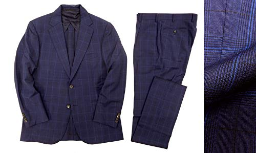 [マッキントッシュ ロンドン] チェック柄 2B サマーウール シングルスーツ セットアップ ネイビー メンズ