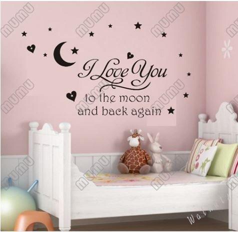 【ELEEJE】 大切な人 へ 気持ち を 伝える ウォールステッカー ( バレンタイン ・ ホワイトデー ・ クリスマス ・ 誕生日 など 様々な シーン の 演出 に 最適 ) 英字(l love you to the moon and back again) 【ELEEJE】