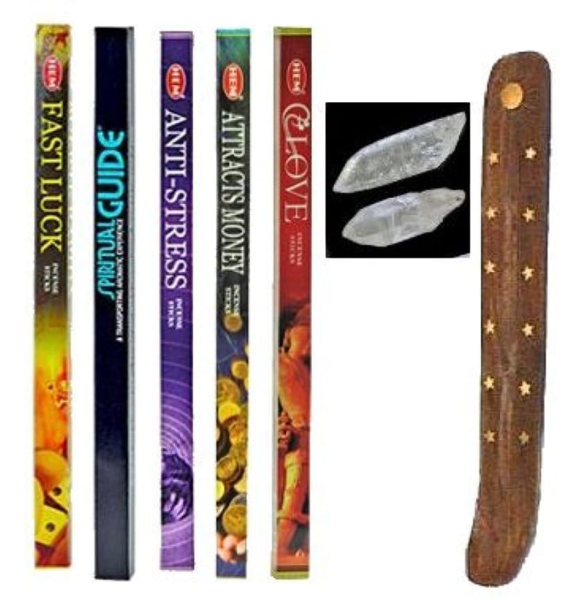 Incense Burnerウッドキットを、(2 Small) アメジストクリスタル、SpiritualガイダンスIncense、お金Incense、幸運、アンチストレス、Love Incense By Uplifting...
