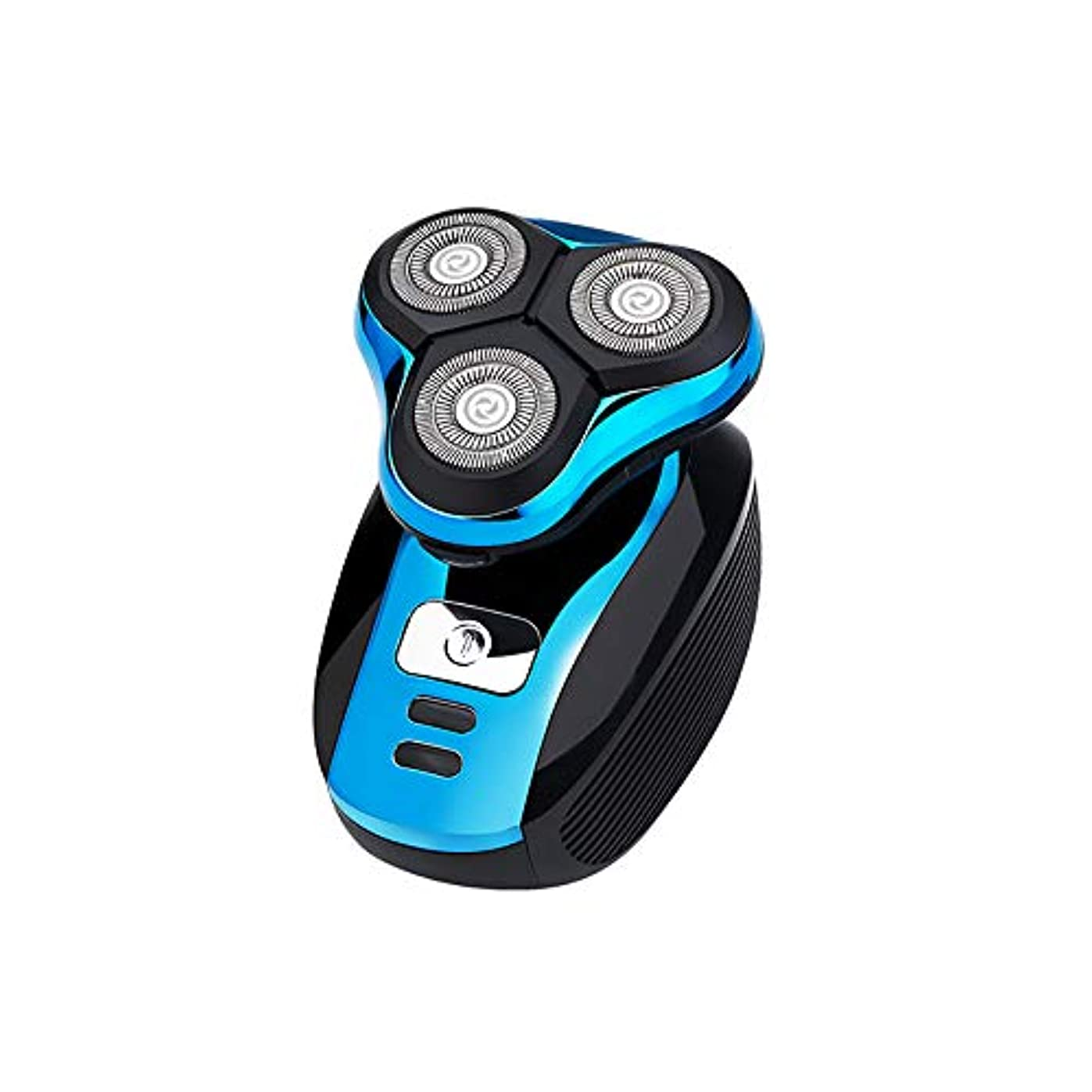 悲観主義者クスクス注文メンズ電気シェーバーカミソリ、3つのカッターヘッドを浮動シェーバー2019新しい無線誘導充電式ボディウォッシュかみそり