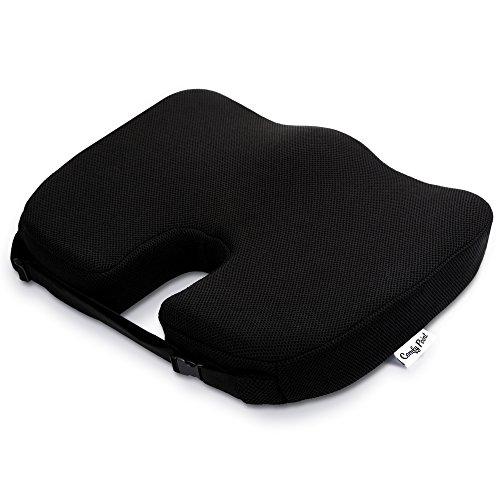 Coccyxシートクッションwithストラップ–ソフトPremiumメモリーフォームでは、豪華快適。シート枕は理想的なオフィスの椅子、カーシート、車いす、旅行、床に座っているby快適なポイント。