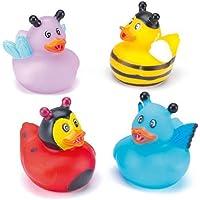 かわいい虫たち ミニ ラバーダック(4個入り) お風呂で遊べます パーティ景品、ディスプレイにも