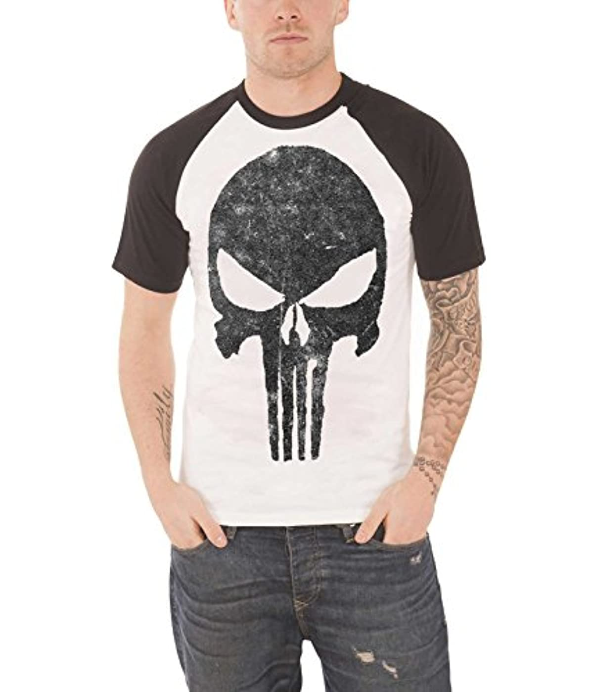 歌手ネクタイ失敗Punisher T Shirt Jagged Skull vintage 公式 Marvel Comics メンズ ホワイト Raglan