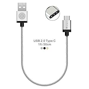 USB Type C, iOrange-E™ 1ft Braided Cable for 2015 New Macbook 12'', ChromeBook Pixel, OnePlus 2, Nexus 6P, 5X, Lumia 950, 950XL, Nokia N1 Tablet and Other Type C Devices, Silver by iOrange-E [並行輸入品]