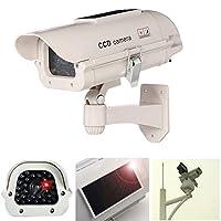 Bearhoho SolarまたはAAバッテリーPowerd by Fakeカメラ、シミュレーション監視CCTVイエローと点滅、点滅LEDダミーカメラCCTVの警告ステッカー–インドア/アウトドア使用