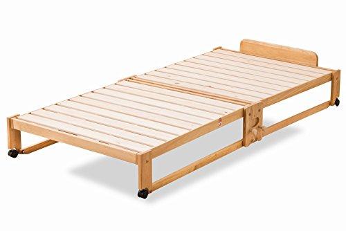 エムール 日本製 ひのき 折りたたみベッド ヘッドボード付き ロータイプ シングル ベッド 折りたたみベッド すのこベッド ベッドフレーム