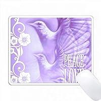 平和と愛の言葉を持つフライング・ビービッド・パープルとホワイト PC Mouse Pad パソコン マウスパッド