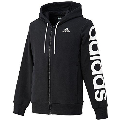 (アディダス)adidas トレーニングウェア エッセンシャルズ リニア フルジップスウェットパーカー(裏起毛) BUQ99 [メンズ] B49907 ブラック/ホワイト J/S